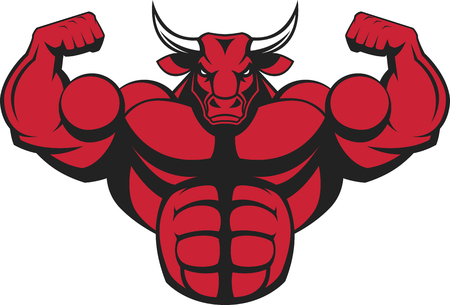 illustration of a strong bull with big biceps.