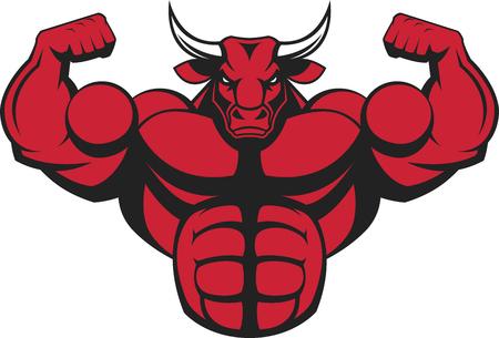 caricaturas de animales: ilustración de un toro fuerte con grandes bíceps.