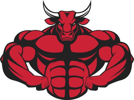 illustratie van een sterke stier met grote biceps. Stock Illustratie
