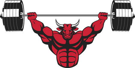 illustration, strong ferocious bull performs an exercise with a barbell over his head Stock Illustratie