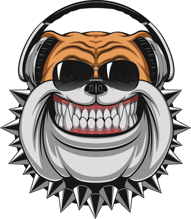 Vector illustration of funny bulldog wearing headphones listening to music, smiling