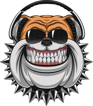 Illustrazione vettoriale di divertenti bulldog indossare le cuffie per ascoltare musica, sorridente