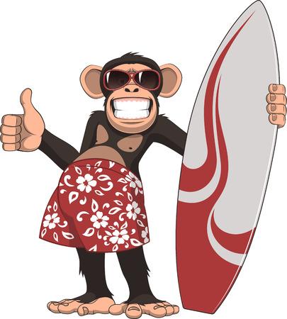 rey caricatura: Ilustraci�n del vector, de la persona que practica surf divertido chimpanc�, sobre un fondo blanco