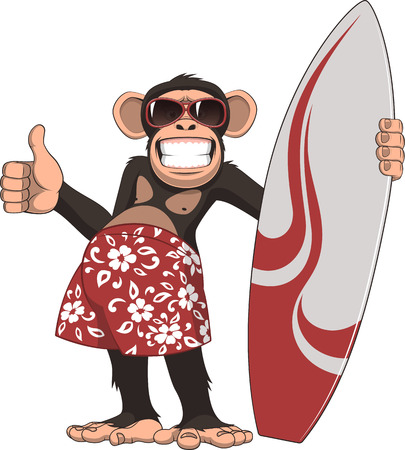 Vector illustration, of funny chimpanzee surfer, on a white background