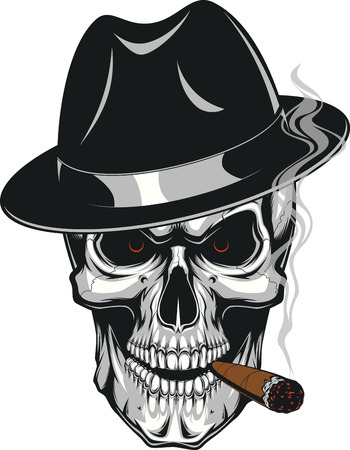 smoking a cigar: Vector illustration of an evil human skull in hat smoking a cigar on a white background Illustration