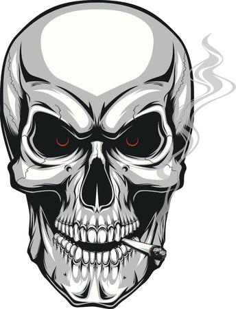 illustrazione vettoriale di un cranio umano male fumare una sigaretta su uno sfondo bianco Vettoriali