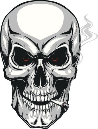 Vector illustration of an evil human skull smoking a cigarette on a white background Illusztráció