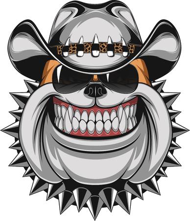 Stockfoto Bulldog in een cowboy hoed en zonnebril glimlachen