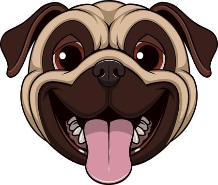 Vektor-Illustration lustig pug lächelnd auf einem weißen Hintergrund