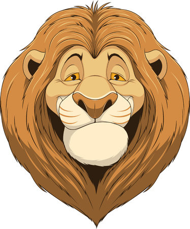 distinguished: Vector illustration, friendly funny lion smiling on a white background