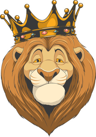 Vector illustration, friendly funny lion smiling and wears a crown