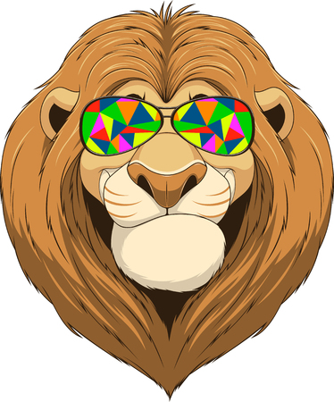 dominate: Vector illustration, friendly funny lion smiling and wears colored glasses