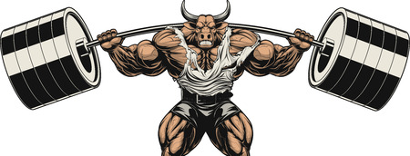 Vector illustration, strong ferocious bull holds the barbell on your shoulders Ilustração