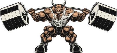 Vector illustration, strong ferocious bull holds the barbell on your shoulders Vettoriali