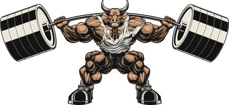 caricaturas de animales: Ilustración del vector, fuerte toro feroz sostiene la barra sobre los hombros
