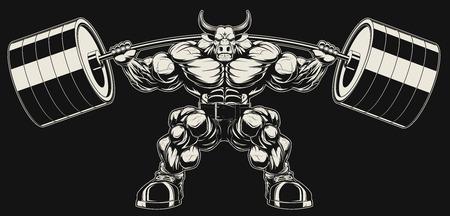 Ilustración del vector, fuerte toro feroz sostiene la barra sobre los hombros