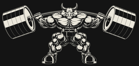 Vector illustration, strong ferocious bull holds the barbell on your shoulders