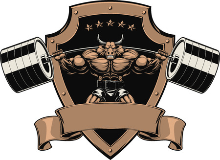 Ilustracji wektorowych silny byk z brzana