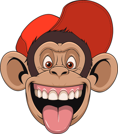 Vector illustration chimpanzee monkey head in a cap, laughing and showing tongue