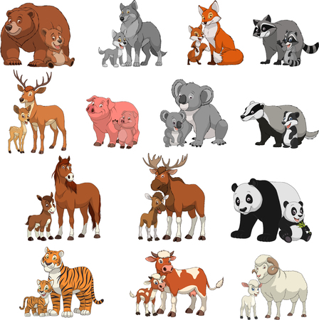predators: illustration set of funny exotic animals, children and parents