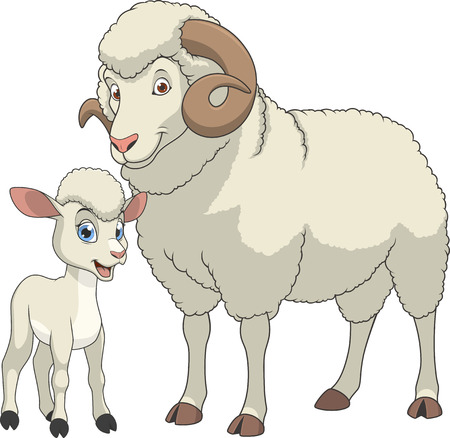 illustration funny exotic animal sheeps family 向量圖像