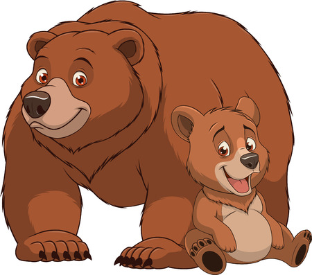 illustration funny exotic animal bear family