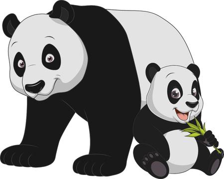 Vector illustration animal exotique drôle famille panda Vecteurs