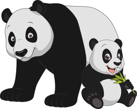 Vektor-Illustration lustig exotische Tier Panda Familie Vektorgrafik