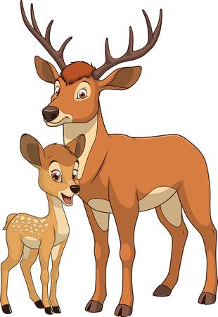 ilustración vectorial familia de los ciervos divertido animal exótico