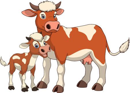 calas blancas: familia de vacas divertida ilustración de animales exóticos