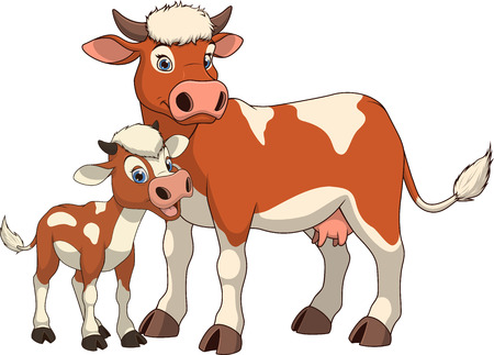 offspring: illustration funny exotic animal cow family