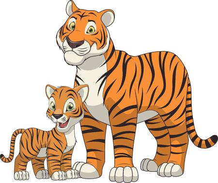 tigre cachorro: familia tigre divertido animal exótico ilustración Vectores