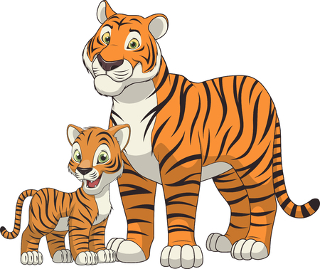 illustration funny exotic animal tiger family