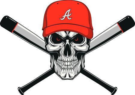 crossed: Vector illustration of skull wear a baseball hat, background two baseball bats Illustration