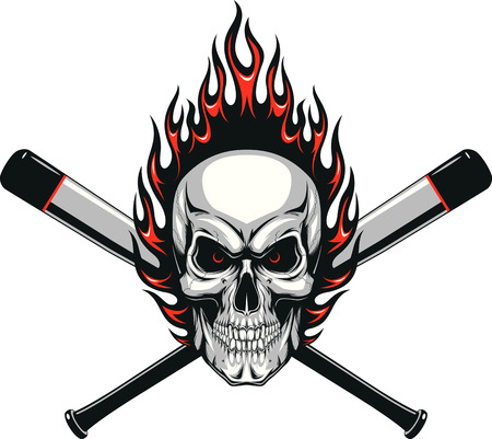 Vector illustration evil skull baseball player in the flame