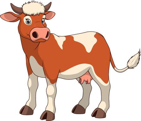 illustratie volwassen grappige koe lachend op een witte achtergrond Stock Illustratie