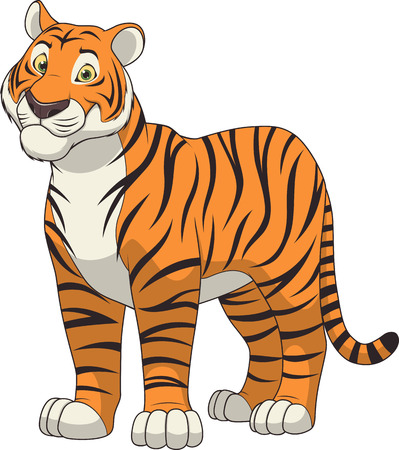 illustration adult funny tiger smiling on a white background Vettoriali