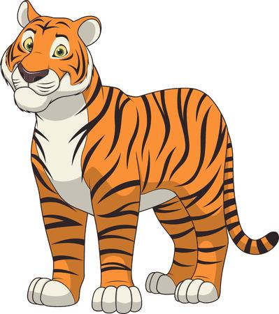 tigresa: ilustración para adultos tigre divertido y sonriente sobre un fondo blanco Vectores