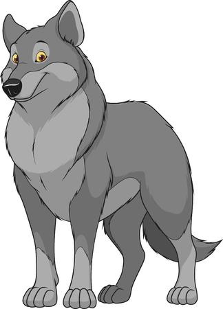 ilustración lobo adulto divertido y sonriente sobre un fondo blanco