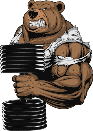 Vector illustration, a ferocious bear the athlete performs the exercise for biceps with dumbbells