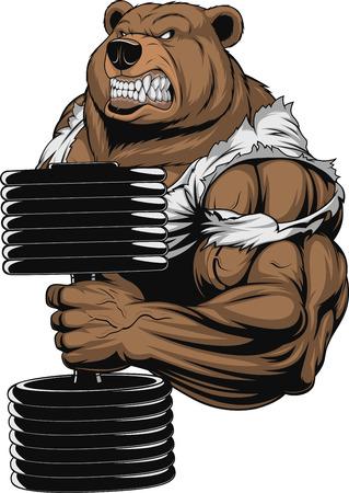 Ilustración del vector, un oso feroz el atleta realiza el ejercicio para el bíceps con mancuernas Ilustración de vector