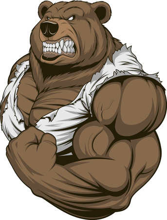 Vector illustration, a ferocious bear athlete posing, showing large biceps