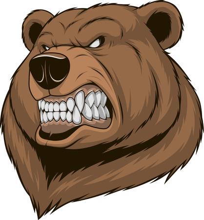 Vector illustratie, een woeste beer hoofd op een witte achtergrond
