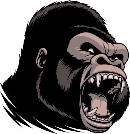叫んで、牙を見せて野生の凶暴なゴリラの頭のベクトル イラスト