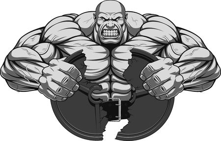 builder: Vector illustration, a fierce strong athlete breaks the iron disk for barbell