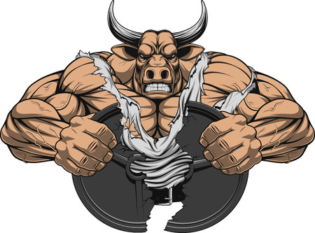 Vector illustration of a strong bull with big biceps Vettoriali