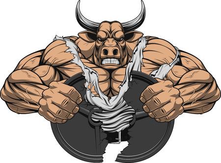 toro: Ilustración vectorial de un fuerte toro con grandes bíceps Vectores