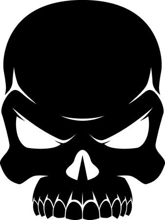 ilustración de un cráneo humano en blanco y negro, silueta sobre un fondo blanco Ilustración de vector
