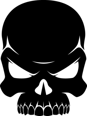 illustration of a human skull in black and white, silhouette on a white background