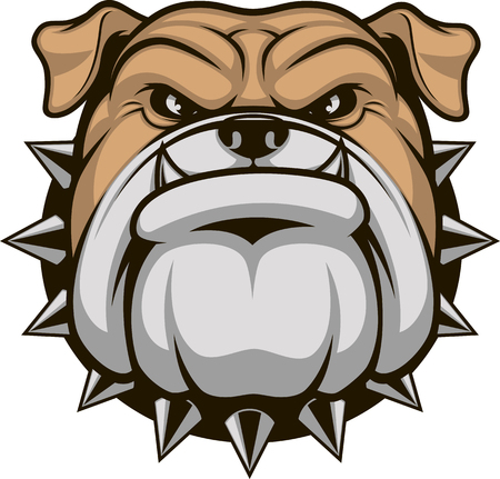 ferocious: illustration head ferocious bulldog mascot, on a white background